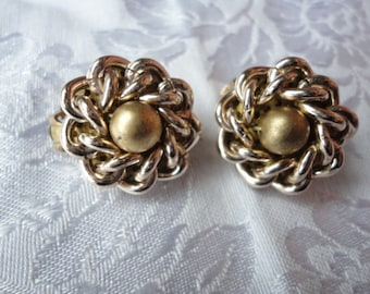 Vintage Brass and Silver Chain Clip On Earrings