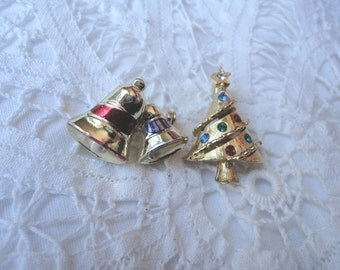 Two Small Vintage Christmas Brooches