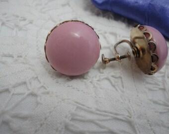 Pretty Pink Button Style Screw Back Earrings
