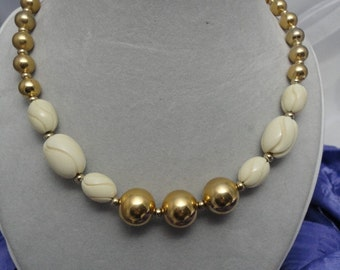 Vintage Napier Gold and Faux Ivory Necklace