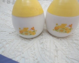 Avon Salt and Pepper Shakers White and Yellow Egg Shaped Sweet Floral
