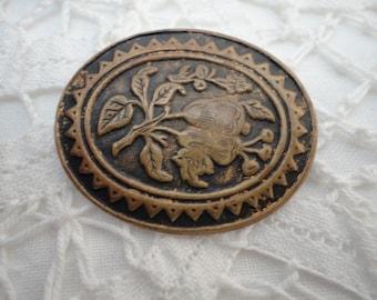 Oval Brass Ornate Brooch Vintage Jewelry Floral