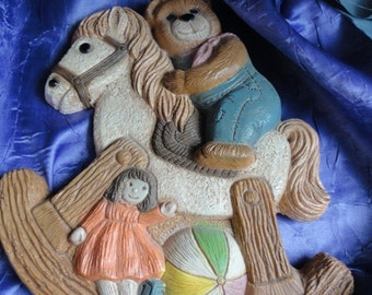 Vintage Cute Little Rocking Horse and Teddy Bear Wall Hanging by Frankies Designs 1986