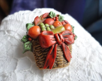 Vintage Hard Plastic Basket of Fruit Pin From Hallmark Cards Autumn Colors