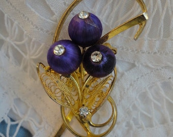 Vintage Gold Tone Flower Brooch Filigree Leaves, Purple Satin Covered Beads with Rhinestone Centers
