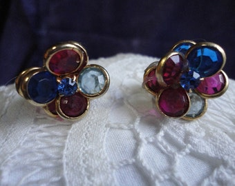 Vintage Channel Set Glass Clip on Flower Earrings in Pinks and Blues