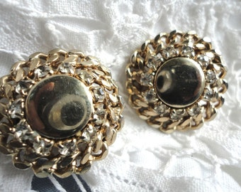 Gold Chain Button Clip on Vintage Earrings with Rhinestones