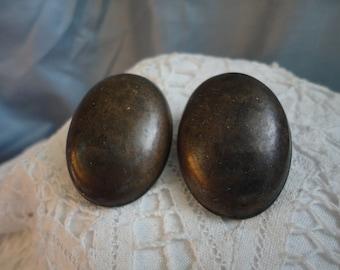 Domed Brass Metal Clip on Earrings Vintage Oval Brass Metal Earrings