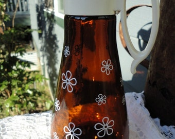 Brown Glass Syrup Dispenser Vintage Serving Ware