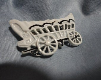 White Enameled Metal Stage Coach Pin/Brooch
