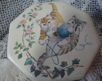 Tin Box With Kittens and Roses Vintage Hexagon Shaped