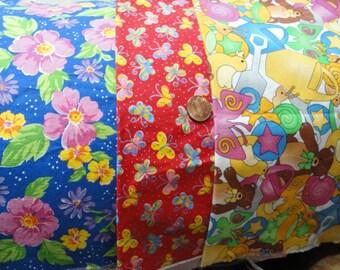 Three Bright Squares Of Cotton Fabric 17 x 20
