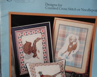 Counted Cross Stitch or Needlepoint Book Bordered Wildlife Collection