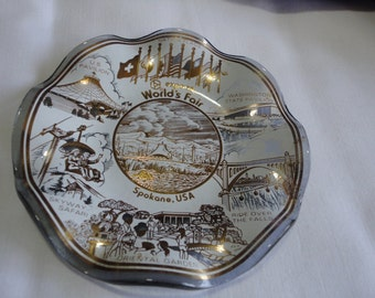 Smoked and Ruffly Glass Souvenir Dish  from Expo 74 Spokane WA
