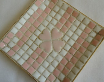 Tiled Mosaic Vintage Trinket Tray with Clover Pastel Pink and White