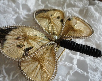 Butterfly Brooch Wire and Thread Black and Gold Vintage Jewelry