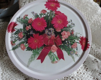 Vintage Tin Container with Red and Pink Flowers