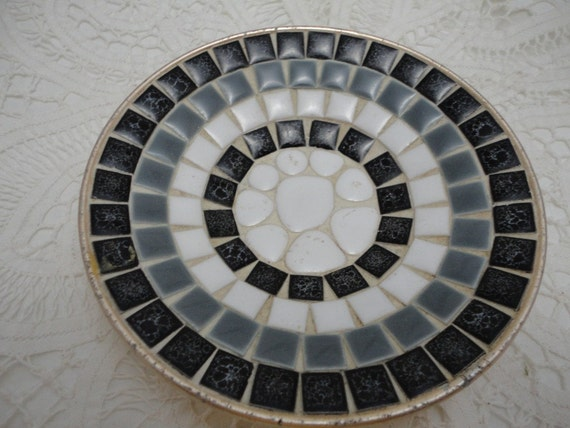 Tiled Vintage Round Ashtray or Dish