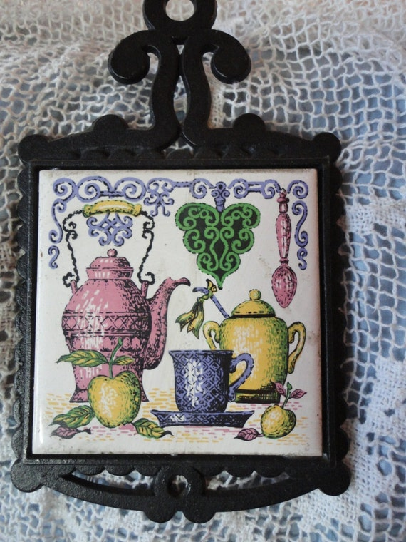 Cast Iron and Ceramic Hot Plate Trivet with Tea Pots and Cups Pastel Colors