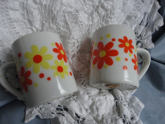 Ceramic Salt and Pepper Shakers White with Yellow and Orange Flowers