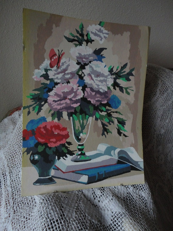 Unframed Paint by Number of Carnations Pinks and White Blues Books Vintage