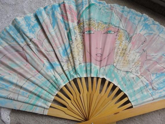 Large Canvas Hand Painted Folding Fan Vintage