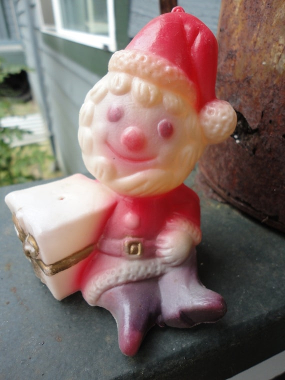 Funny Vintage Plastic Santa Claus Decoration