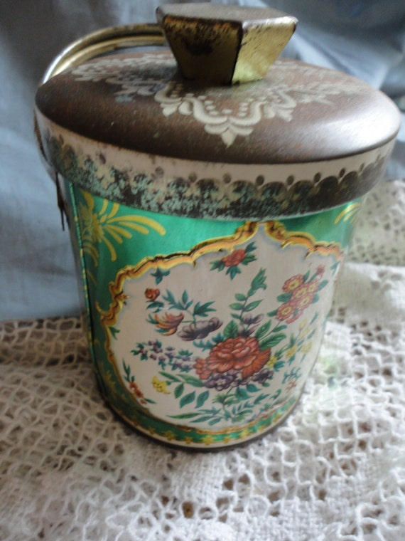 Murray Allen Green and Floral Candy Tin Container with Handle and Lid