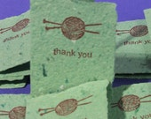 Mini Thank You Cards - Handmade Recycled Paper - Yarn and Knitting Needles