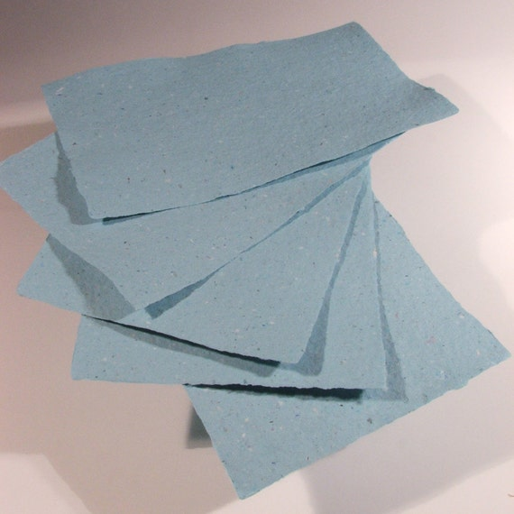Handmade Recycled Paper - BLUE - 5 Sheets 5.5 x 8.5