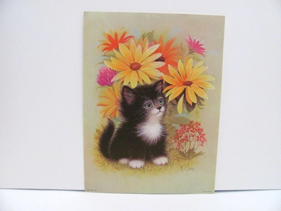 K Chin Black Kitten Print