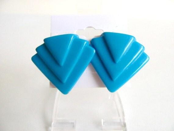 Bright Blue Chevron Earrings