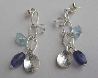 Silver mini waterfall blue earrings