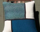 Crochet Throw Pillow Teal/Cream, Decorative Pillow, 16 x 16