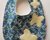 ON SALE! Butterflies Baby Bib - Green and Blue Floral