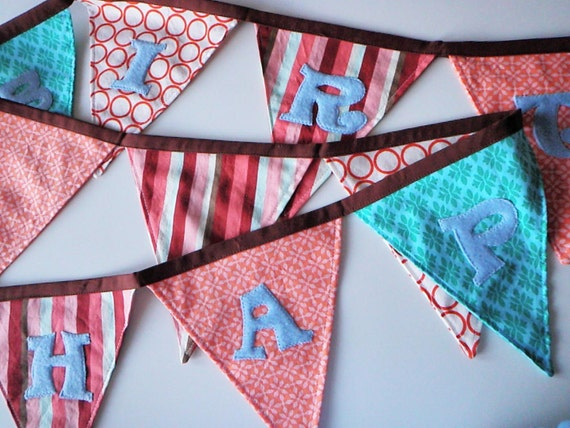 Happy Birthday Fabric Banner - Coral, Blue, Stripes, Orange, Brown with Light Blue Lettering