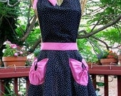 Retro Black Polka Dot Apron with Full Skirt, Sweetheart neck, hot pink pockets and waistband