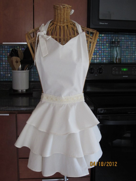 Romantic Three Layered Apron with Lace and Cream Cotton fabric