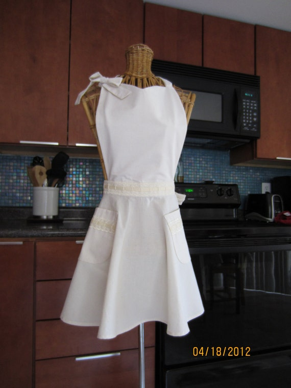 Womens Apron, Bridal Apron, Cream Apron, Ecru Apron, Brides, Full Apron, Romantic Apron, Eco Friendly Apron, Off White Apron,