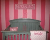 Stacked Name Plaque, 7-10 Letters, Pink and White Nursery Letters, Wall Letters, Letters,Monogram, Painted Letters