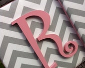 Wall Letters, 15x15, Pink and Gray Nursery Letters, Gray Chevron Letters