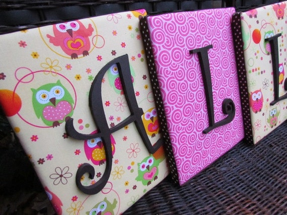 Wall Letters, 8x10 Framed Monogram, Owl Nursery Letters, Painted Letters, Personalized, Monogram, Upholstered Letters, Custom Lettering