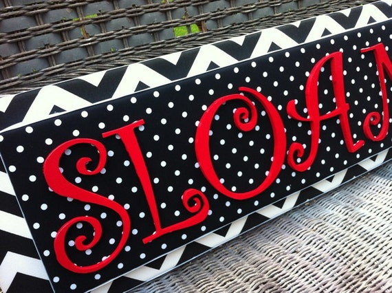 Nursery Letters, 2-6 Letters, Black Chevron, Black and Red Nursery, Name Plaque, Upholstered Letters, Painted Letters, Wood Letters,