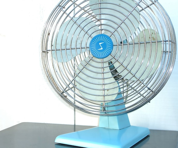 Vintage Electric Fan : Aqua Blue