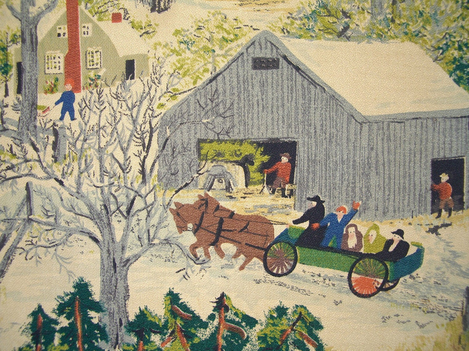Grandma Moses Wall Hanging Early on 1950 mid century s