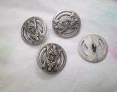 Metal Buttons with Floral Motif, steam punk Victorian shank buttons commercial supplies