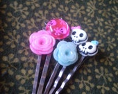 SALE - FREE SHIP - Halloween Skull Bobbie Pin Assortment - skulls, crossbones and glittery roses handmade accessories for adults and children