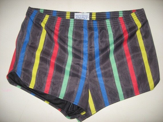 VINTAGE 70s Multi-Color Striped Unisex Gym Shorts By GeeUknit