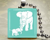 Mommy and Child Elephant  - Sweet Mothers Day Tile Pendant with chain, ribbon/cord, key chain or Magnet