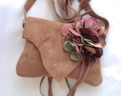 camel tan  suede leather shoulder purse or hip bag with rose,  pink green and brown flower